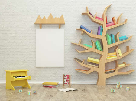 kids game room interior 3d rendering image with colorful books and toys