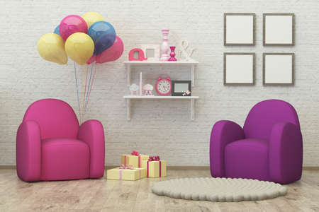 kids room interior 3d render image with frames, armchair, balloons, presents and decoration