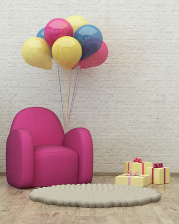 kidsroom: kids room interior 3d render image with armchair, balloons and presents