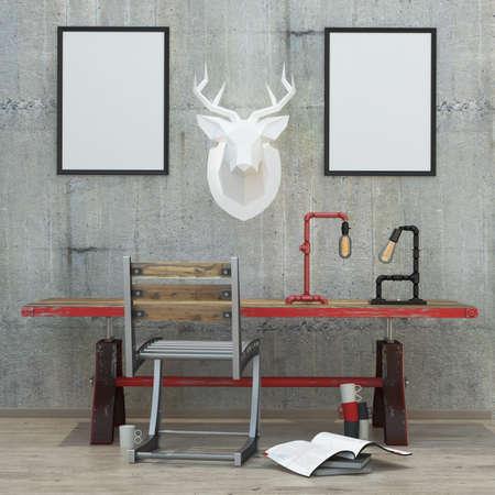 sfondo stile moderno loft interni con cornici, muro di cemento, il rendering 3D