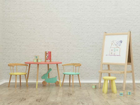 kinderen speelzaal afbeelding interieur 3D-rendering met raad en speelgoed