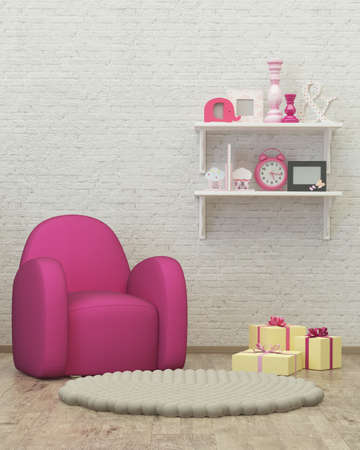kidsroom: kids room interior 3d render image with armchair, decor and presents