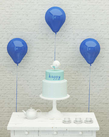 kidsroom: birthday cake,blue ballons and presents for boy party on the background of brick wall, 3d render