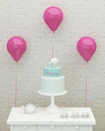 birthday cake, pink ballons and presents for girl party on the background of brick wall, 3d render