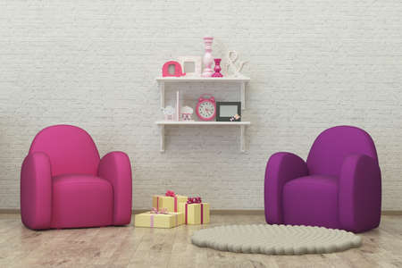kidsroom: kids room interior 3d render image with colorful armchairs, presents and decoration