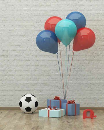 Ball ,colorful ballons and presents for boy party on the background of brick wall, 3d render Standard-Bild