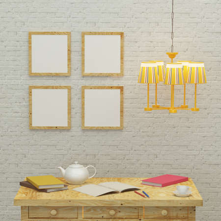 Working kids room interior with a yellow lamp, frames and brick wall. 3d rendering