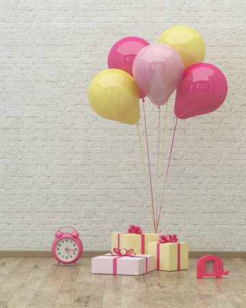Clock, colorful ballons and presents for girl party on the background of brick wall, 3d render