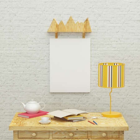 kidsroom: Working kids room interior with a yellow lamp, frames and brick wall. 3d rendering