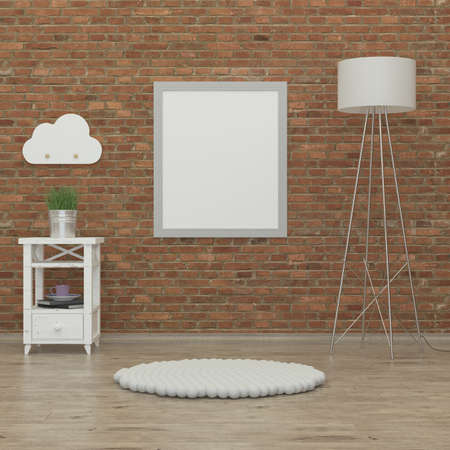 kidsroom: kids bedroom interior 3d rendering image with brick wall, white furniture books and a fox