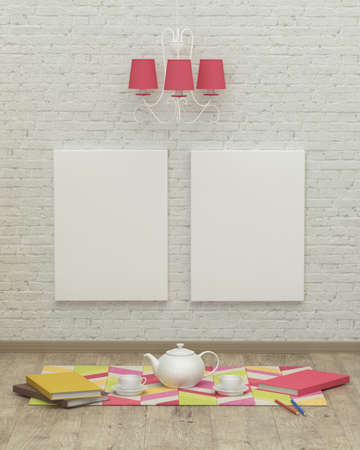 kidsroom: Working kids room interior with a pink lamp, frames and brick wall. 3d rendering, tea party Stock Photo