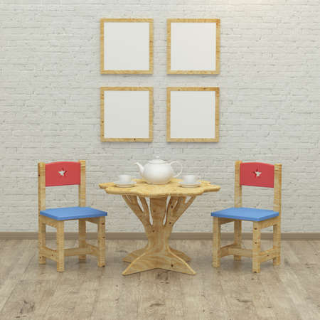 kidsroom: kids game room interior 3d rendering image with colorful chairs , plywood table, frames and tea party Stock Photo