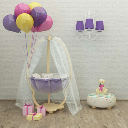 kids bed room lavender interior 3d rendering image with presents, balloons, pouf and a toy