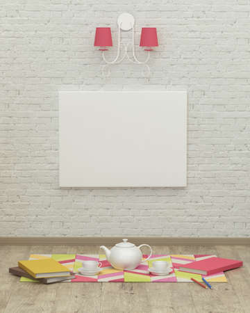 kidsroom: Working kids room interior with a pink lamp, frame and brick wall. 3d rendering, tea party