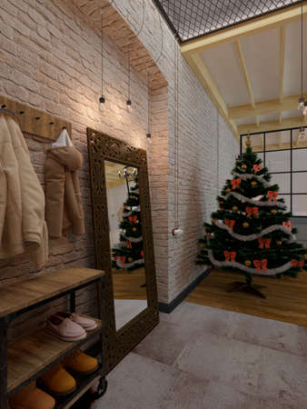 New year evening loft interior with Christmas tree, mirror and clothes, 3D rendering