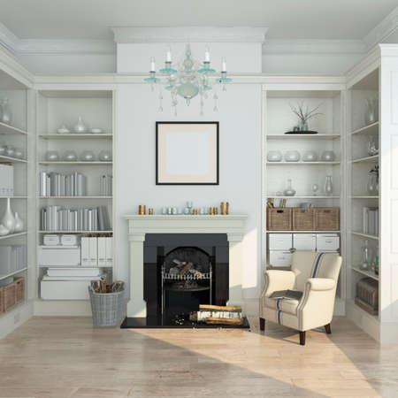 白い冬モダンなインテリア、肘掛け椅子と暖炉。3 d のレンダリング