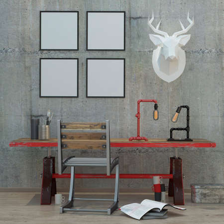 loft  style modern interior background with frames, concrete wall , 3D render
