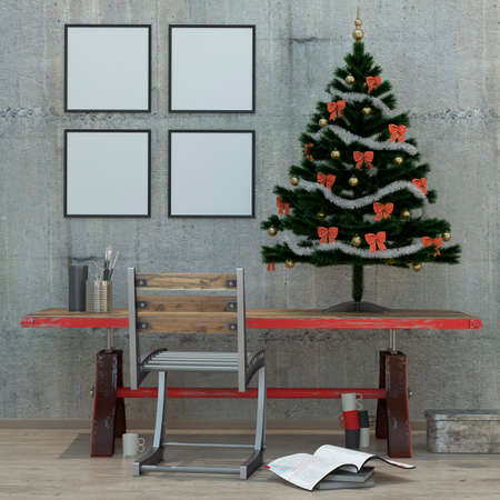 loft  style modern interior background with Christmas tree, frames, concrete wall , 3D render