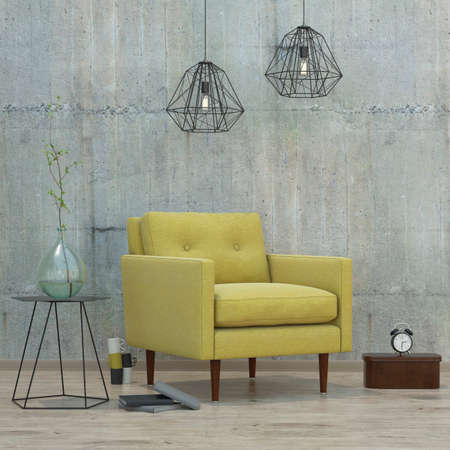 lofts: modern interior room with books, clock, lamps and yellow sofa, 3D render Stock Photo