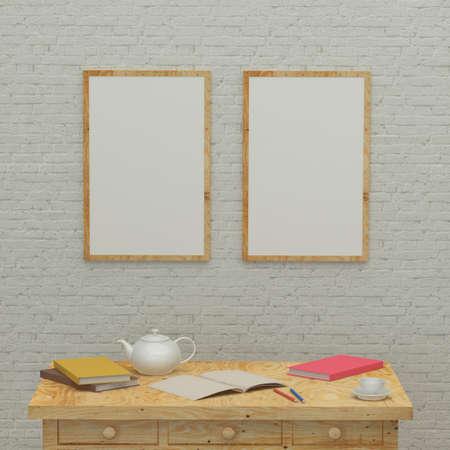 ladrillo: Trabajando interior habitaci�n de los ni�os con una pared de papeler�a, libros, marcos y ladrillo. Las 3D