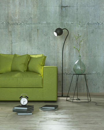 modern interior room with books, clock, lamp and yellow sofa, 3D render