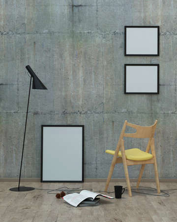 loft  style modern interior background with frames, concrete wall, yellow chair , 3D render