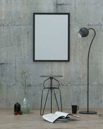 concrete: loft  style modern interior background with frame, concrete wall and decoration, 3D render Stock Photo