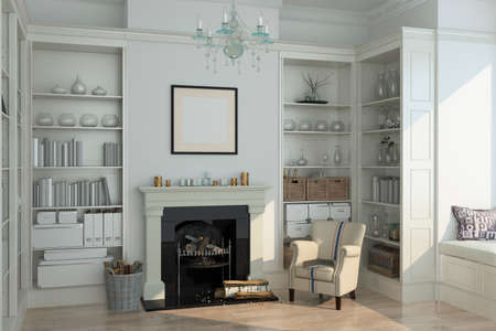 fireplace living room: White winter  modern interior with armchair, fireplace. 3d render