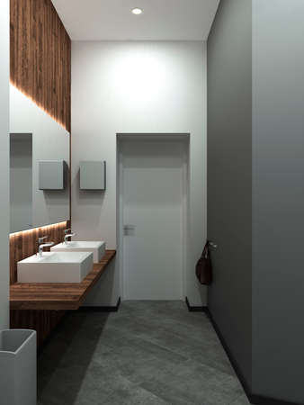 Bathroom modern style. Compromising with wood and concrete,perfectly for a office or house. 3D render