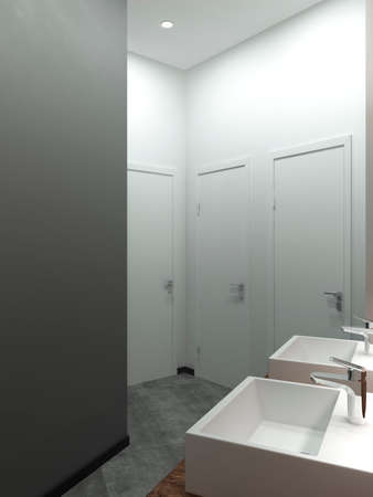 compromising: Bathroom modern style. Compromising with wood and concrete,perfectly for a office or house. 3D render