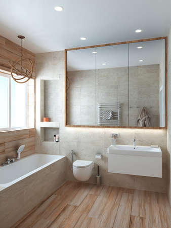 Bathroom modern style in pastel colors for a office or house. 3D render