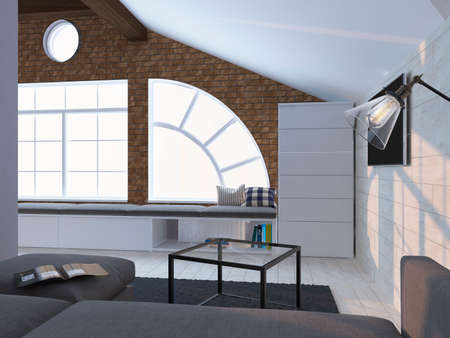 Light coloured modern interior with sofa, book and windows. 3d render Stock Photo
