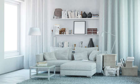White modern interior with sofa, books and decor. 3d render