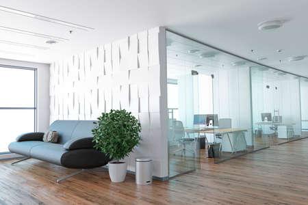 空のオフィス、パノラマ ウィンドウの横にある白い壁の職場。3 D レンダリング