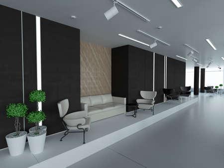 Leeg bureau, witte muur naast van een panoramisch raam, werkplek. 3D-rendering