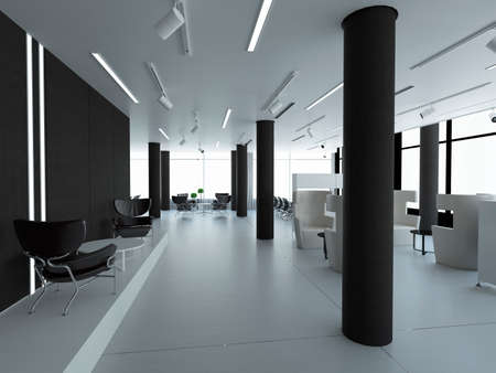 empty interior: Empty office, white wall beside of panoramic window, workplace. 3D rendering