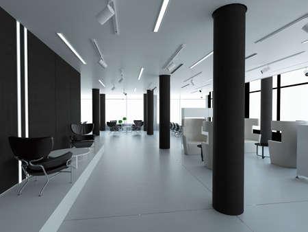 oficina: Vaciar la oficina, pared blanca al lado de la ventana panorámica, lugar de trabajo. representación 3D