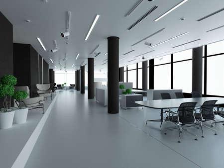 Puste biuro, białe i czarne. Grafika trójwymiarowa