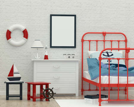 kidsroom: childrens white bedroom in a marine style. 3d rendering image Stock Photo
