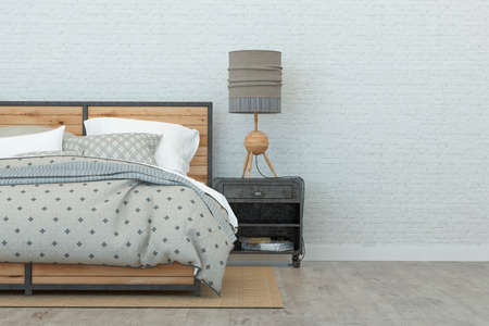 Bedroom in loft style and white walls. 3D Rendering Stock Photo