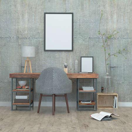 Chambre dans un style loft et des murs en béton. rendu 3D