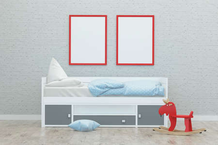 kids sleeping room interior 3d rendering image with red frames and toys