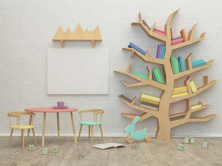 image d'intérieur de pièce de jeu d'enfants avec des jouets colorés. Rendu 3D