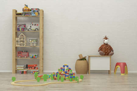 kidsroom: kids game room interior image with colorful toys. 3D Rendering