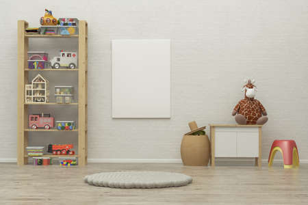 room decor: kids game room interior image with colorful toys. 3D Rendering