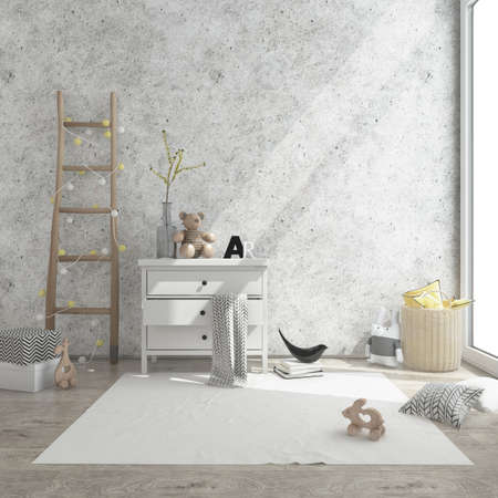 kids game room interior image. 3D Rendering Stock Photo