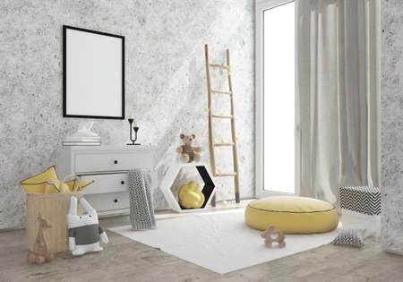 kidsroom: kids game room interior image. 3D Rendering Stock Photo