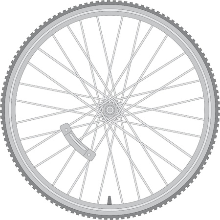 greyscale: detailed bicycle wheel Illustration