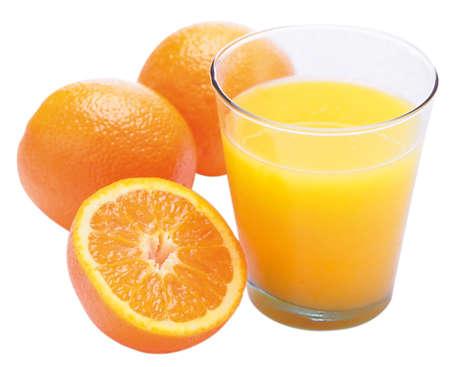 glass of orange juice with oranges besides, isolated on white background