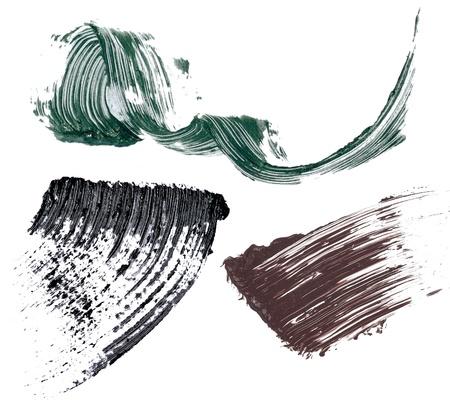 verschmieren: Mascara-Abstrich und Samples auf wei�em Hintergrund